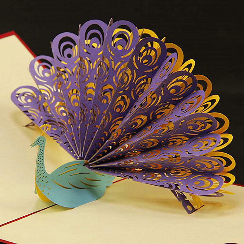 15 15cm 1pc fashion style nice gift 3d peacock pop up card