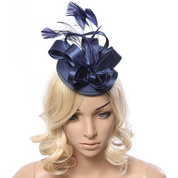 Fascinator Headbands Hats Feathers for Women Tea Party Wedding Derby Hair Decoration Blue