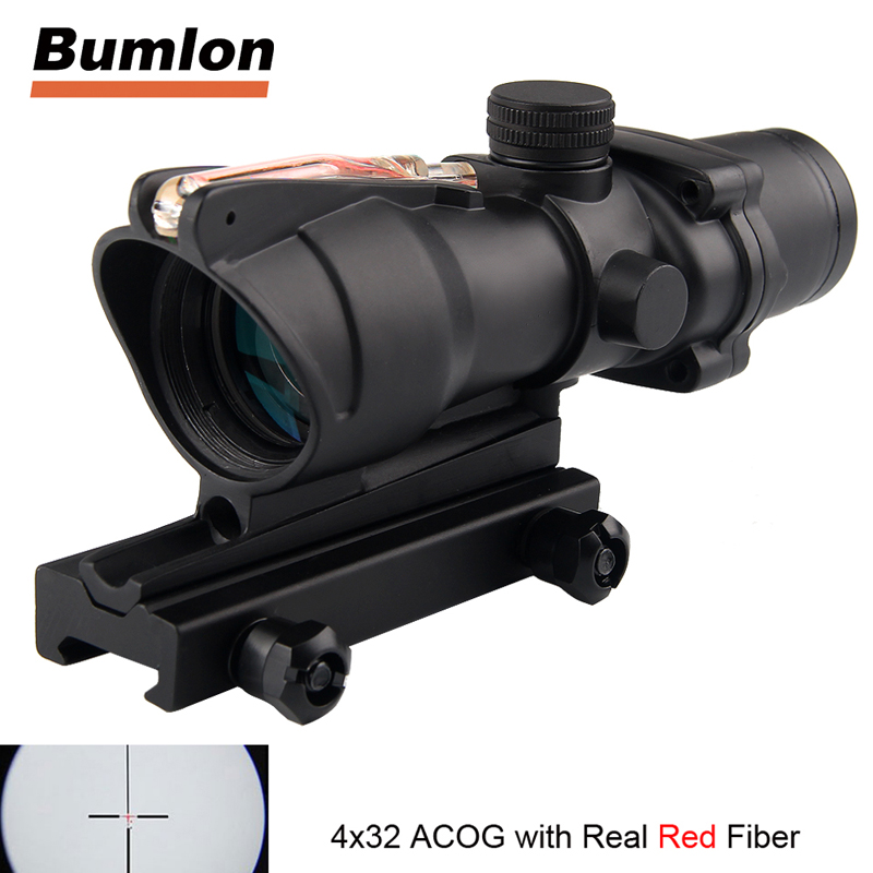 ACOG 4x32 Optics Sight Red Fiber Optical Scope Duel Illuminated Riflescope Airsoft Hunting Rifle Shotgun Rifle Scope RL6-0006