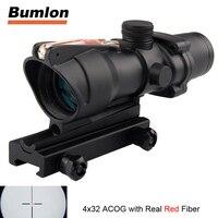 ACOG 4x32 Optics Sight Red Fiber Optical Scope Duel Illuminated Riflescope Airsoft Hunting Rifle Shotgun Rifle