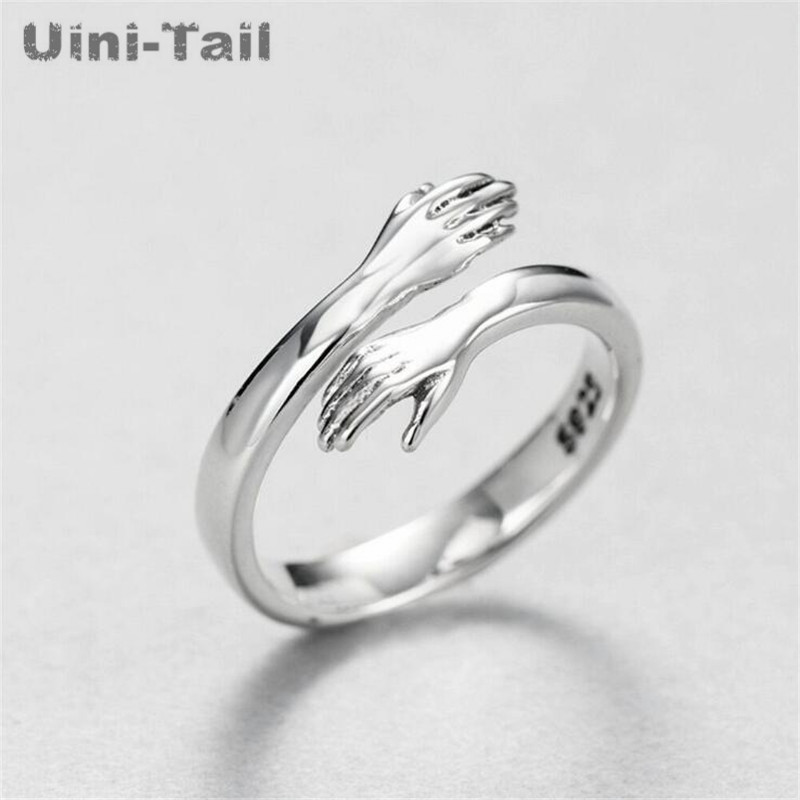Uini Tail hot new 925 sterling silver European and American jewelry love hug ring retro fashion tide flow open ring GN601