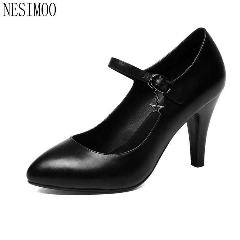 NESIMOO 2018 Fashion Summer Women Pumps Pointed Toe Thin High Heel Leather Ankle Strap OL Ladies Wedding Shoes Size 34-43 esveva sexy flock thin high heel women pumps summer party pointed toe woman pumps ankle strap ladies wedding shoe size 34 43