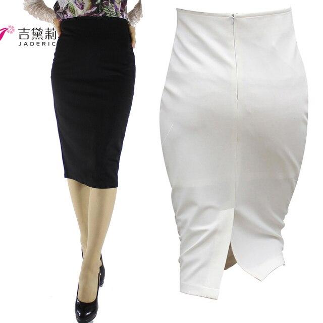 077809fc5e Jaderic Split Vintage Bodycon Skirt High Waist Women Knee Length Pencil  Skirt Solid OL Office Elegant