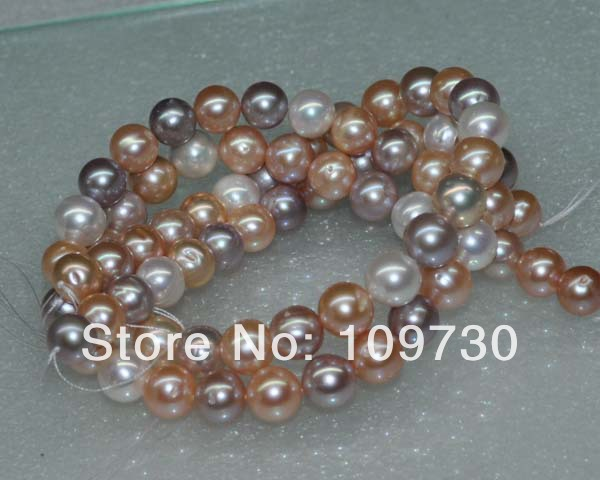 Jewelry 00107 Natural mix color 2 strands AA+ 10-11mm shining round freshwater pearl