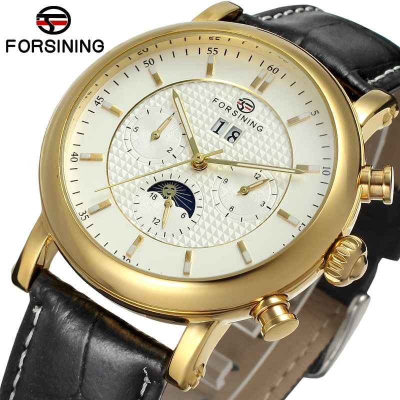 FORSINING Men Auto Mechanical Watch Genuine Leather Strap Calendar Moon Phase 24Hr Multifunction Working Sub dial WINNER WATCH top luxury winner men automatic mechanical watch tourbillon man wrist watch leather strap 24 hours hands sub dial moon sun phase