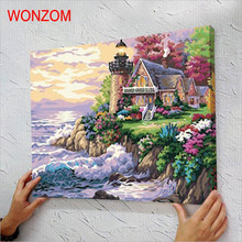 wonderland oil painting by numbers diy lakeside villa poster coloring drawing on canvas unframed quadro cheap