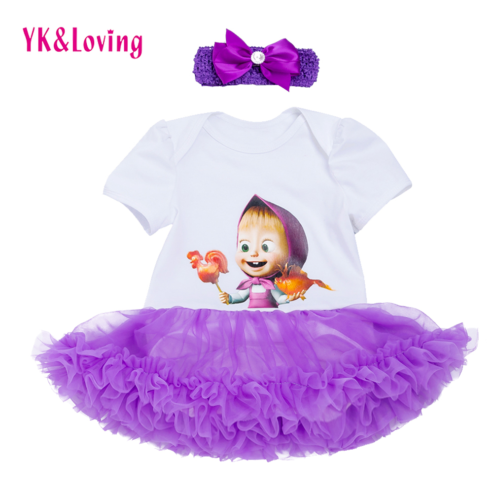 Baby Girls Short Sleeve Dress Purple Ruffle Tutu Dresses Print Pattern Martha and Bears Summer Cotton Childrens Party Clothing