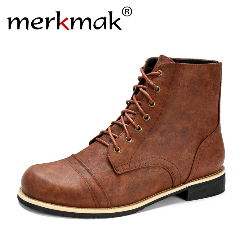 Merkmak Ankle-Boots Footwear Male British Autumn Botas Winter Men Fashion Lace-Up High-Quality