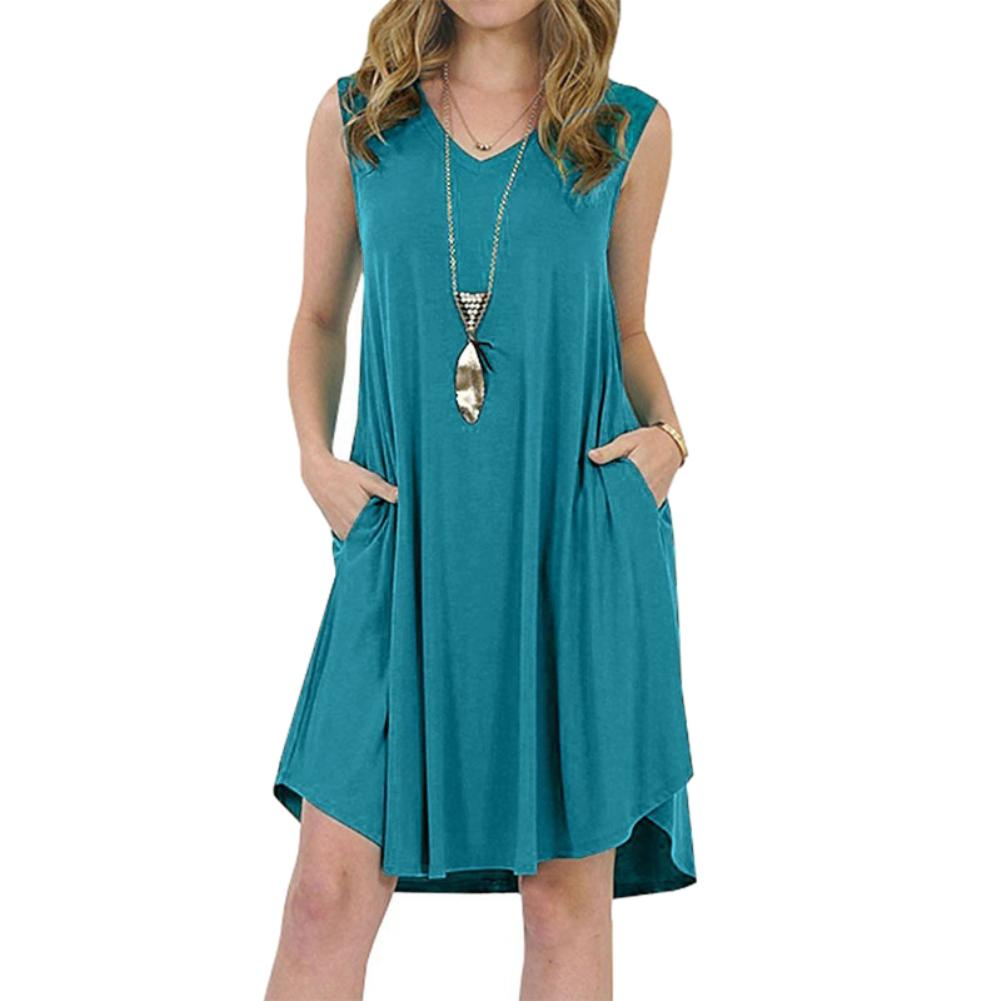 Solid Color Sleeveless Pockets V-neck Sundress Women's Summer Casual Loose Dress fashion plus size 6XL