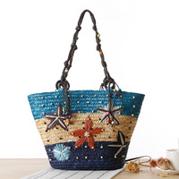 2017 New Fashion Summer Beach Bags Womens Hand Embroidery Bohemian Style Straw Shoulder BagsFemale Beading Traveling