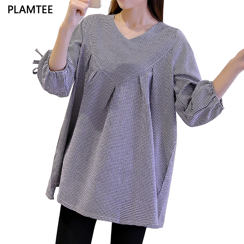 Fanshion V-Neck Plaid Maternity T-Shirt Tre-Quarter Sleeves Bluse For Gravide Kvinder 2017 Summer Plus Size Blusas De Maternidad