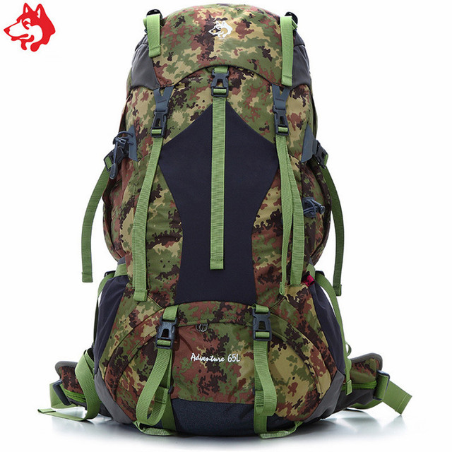 65L Camouflage Orange Dark Green adventure backpack life-saving whistle Camping  hiking outdoor 10f9bce4493be