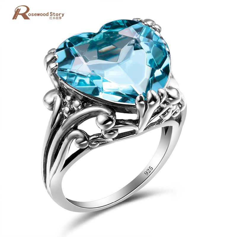 Soild 925 Sterling Silver Heart Shape Cute Vintage Engagement Rings Blue Stone Crystal For Women Girlfriend Lover Fine Jewelry