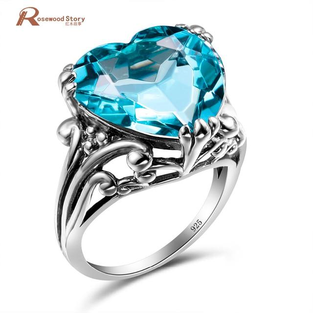 Soild 925 Sterling Silver Heart Shape Cute Vintage Engagement Rings
