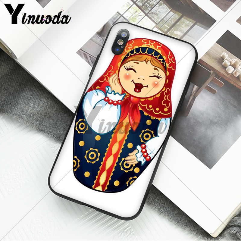 Yinuoda russe matryoshka poupées Coque noir caoutchouc souple en polyuréthane thermoplastique couverture de téléphone pour iPhone 5 5Sx 6 7 7 plus 8 8plus X XS MAX XR