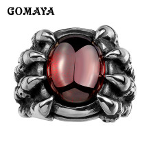 GOMAYA Women Rings Popular Punk Cool Fashion Jewelry Skull Claw for Men wiith Red Zircon CZ 316L Stainless Steel