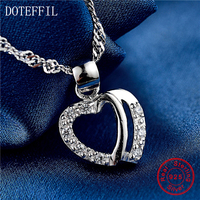 18 Inch Chain 925 Sterling Silver Women Necklace Charming Heart Pendant Necklace AAA Zircon Silver Women