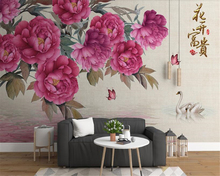beibehang Customizable high quality fashion decorative painting personalized papel de parede wallpaper stereo peony background