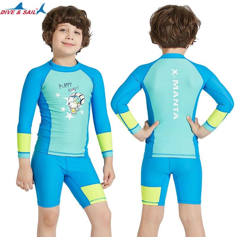 b53b825b1f US $12.59 30% OFF| Dive & Sail Kids UPF 50+ Swimwear Lycra Swimsuit Sun  Protection 2 piece Set Long Sleeve Shorts Suit Girls Boys Rash Guards  Blue-in ...