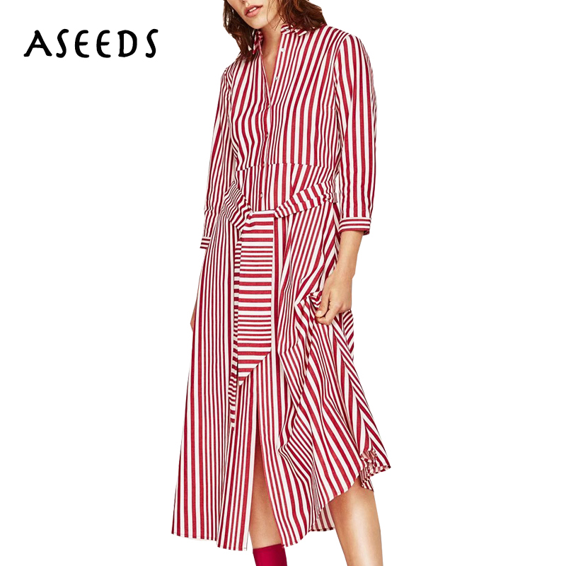 Summer 2017 fashion long shirt dress women sashes white red striped dress Casual bow tie robe ete office maxi dress vestidos