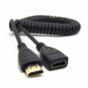 Image 3 - マイクロ HDMI ミニ HDMI 90 度アングルオス HDMI ストレッチ春ケーブルコイル状コネクタ