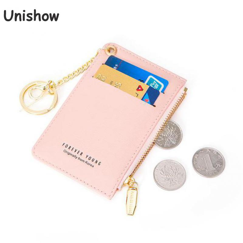 Unishow Women Card Holder Pu Leather Key Chain Wallet Small Card Wallets Female Mini Credit Card Holders Zipper Coin Purse Bag