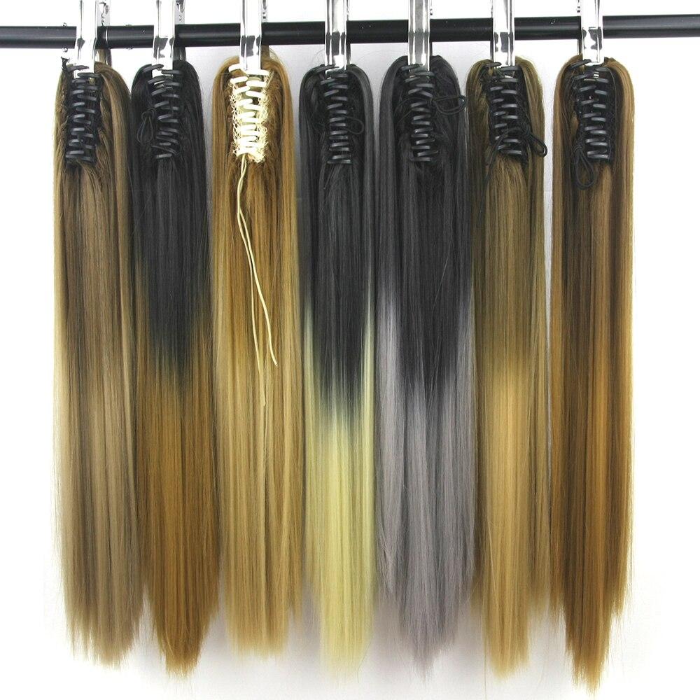 Soowee 24 ''straight clip sintetica dei capelli extensions artiglio coda di cavallo posticci coda di cavallo alta temperatura in fibra rosso grigio