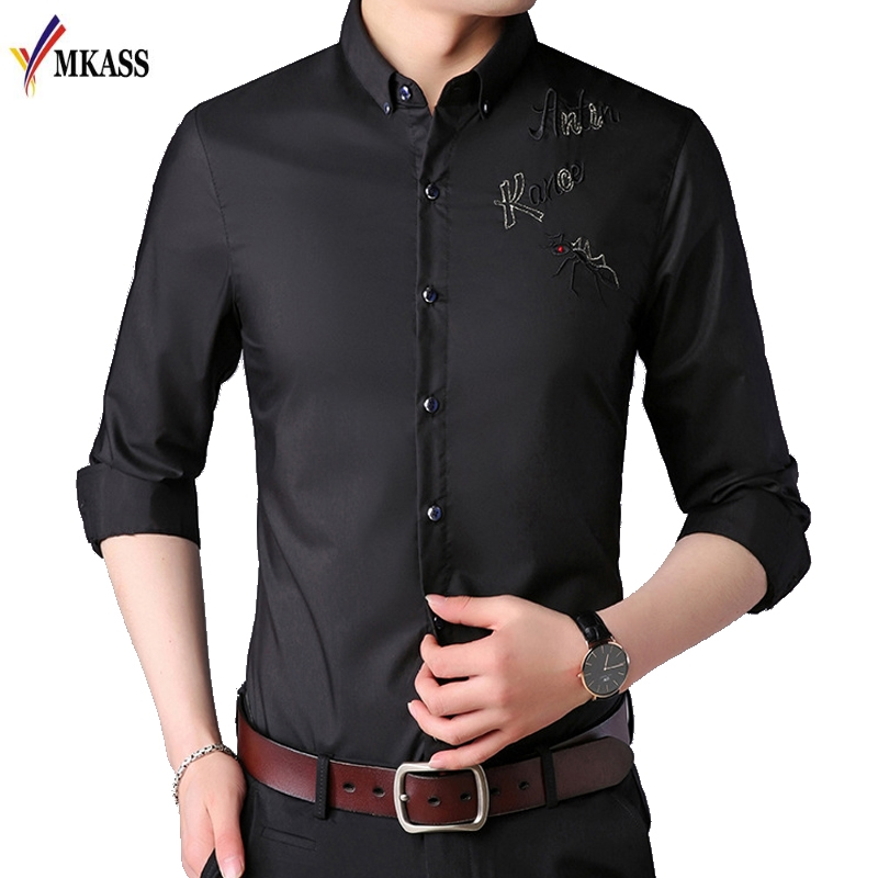 2019 Males Vogue Informal Lengthy Sleeved Printed shirt Slim Match Male Social Enterprise Gown Shirt Model Males Clothes Smooth Comfy Informal Shirts, Low cost Informal Shirts, 2019 Males Vogue...