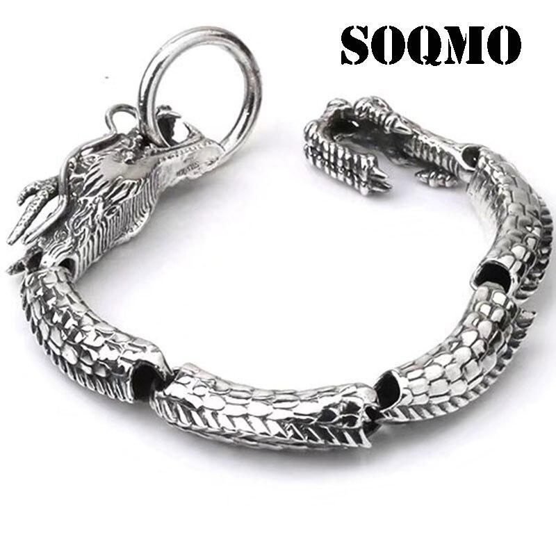 SOQMO De Luxe Pur 925 Sterling Silver Dragon Bracelet Hommes Vintage Punk Rock Biker Hommes Bracelets 2017 Homme Argent 925 Bijoux