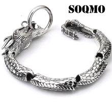 SOQMO Luxury Pure 925 Sterling Silver Dragon Bracelet Men Vintage Punk Rock Biker Mens Bracelets 2017 Man Silver 925 Jewelry