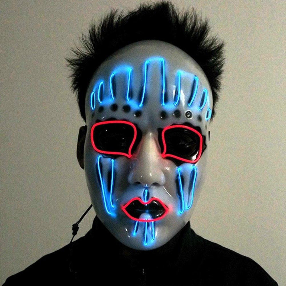2017 Party Mask Fashion LED Flashing <font><b>Light</b></font> Luminous EL Wire Glowing Ghost Skull Mask Powered by Batteries New Arrival