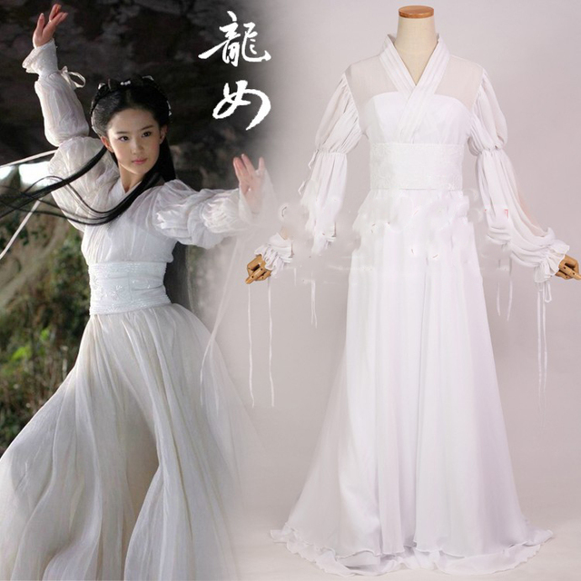 72f09e47826e9 US $35.0 |Liuyifei Drama Costume 3 Designs White Dragon Fairy Costume for  TV Play The Condor Heroes Xiao LongNv White Fairy Cosplay Hanfu-in Chinese  ...