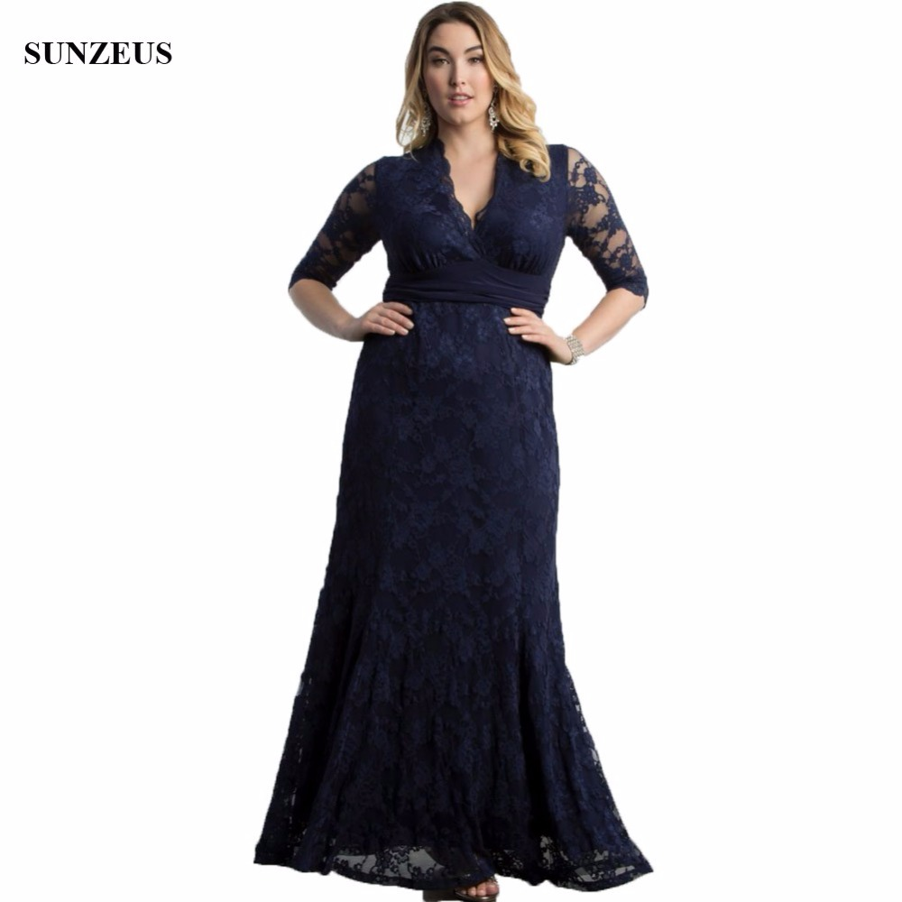 2016 Lace Mermaid Mother Of The Bride Dresses Groom: Navy Blue Lace Mother Of The Bride Dress Mermaid V Neck