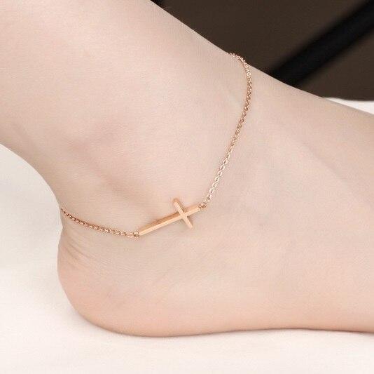 I Love Jesus Christian croix Bracelet de cheville chaîne de pied, plaqué or Rose bracelets de cheville pour les femmes pied bijoux Argent indien cheville cadeau