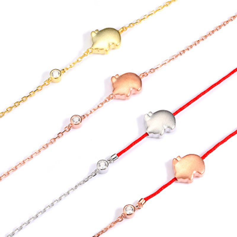 Qevila Anklet Hot Fashion Lovely Flying Pig Ankle bracelets 925 Sterling Silver Gold Leg foot Jewelry for Women Unique Gift Boho (9)
