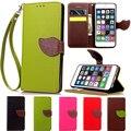 Hoja corchete soporte cartera de cuero flip case para iphone 6 6 s plus sí 5 5S 5C 4 4S iTouch 6 5 Titular de la Tarjeta de Crédito Cubierta Protectora