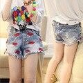 Primavera verão 2017 new Girls denim shorts lips curto calças roupa das crianças 3-9 anos