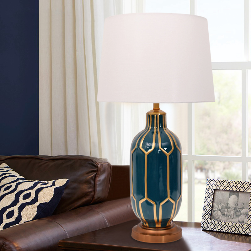 Blue ceramic table lamp bedroom meow gold texture atmosphere blue ceramic table lamp bedroom meow gold texture atmosphere creative pattern european style room hotel room hall lighting in led table lamps from lights aloadofball Choice Image