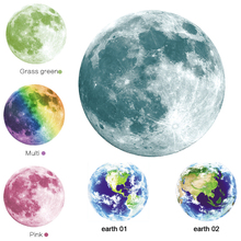 New 3D wall stickers for kids rooms 1PCS luminous green light moon earth decoration home decor