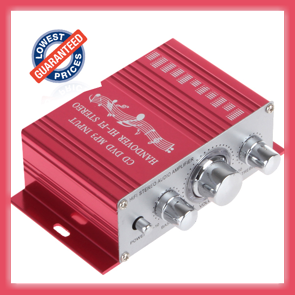 New 12V Mini Car <font><b>Amplifier</b></font> Motorcycle Home Boat Auto Stereo <font><b>Audio</b></font> <font><b>Amplifier</b></font> 2 Channel Digital Hi-Fi Amp Support CD DVD MP3 Input image