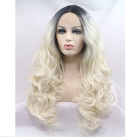 JOY&BEAUTY hair black/blonde ombre body wave synthetic lace front wigs glueless long 70cm blonde wavy heat resistant wig