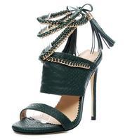woman roman style high heel sandal gold chains tassel open toe high heel sandal custom make other color plus size