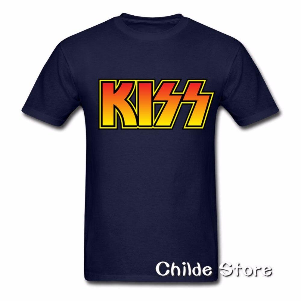 2018 продажа уличная короткий рукав футболки поцелуй классический логотип Большие размеры 3XL футболка хип-хоп Футболки 100% хлопковые рубашки