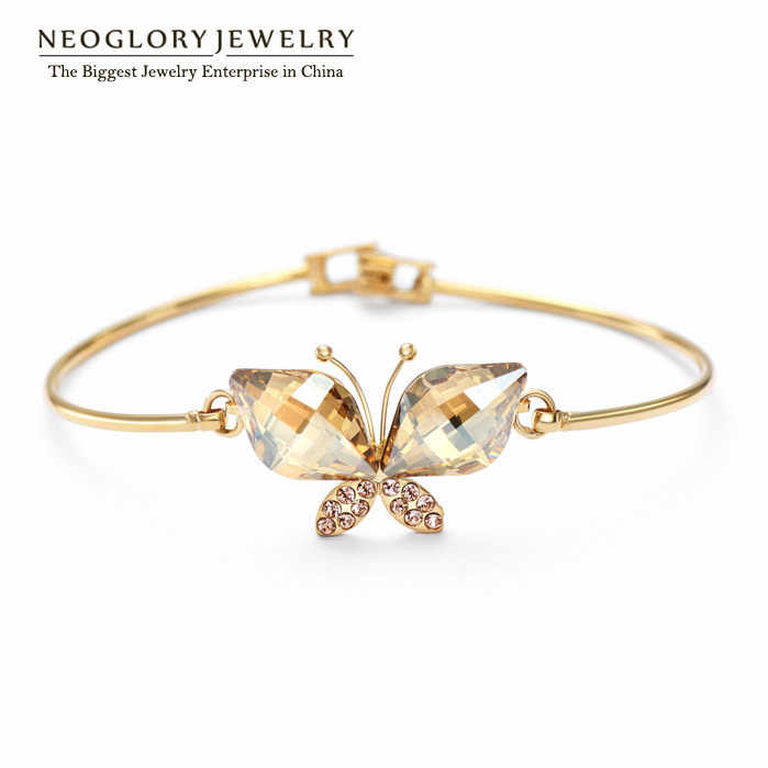 Neoglory Austrian Crystal Butterfly Design Bangles Bracelets Light Yellow Gold Color for Women Jewelry 2018 New JS6 But-g