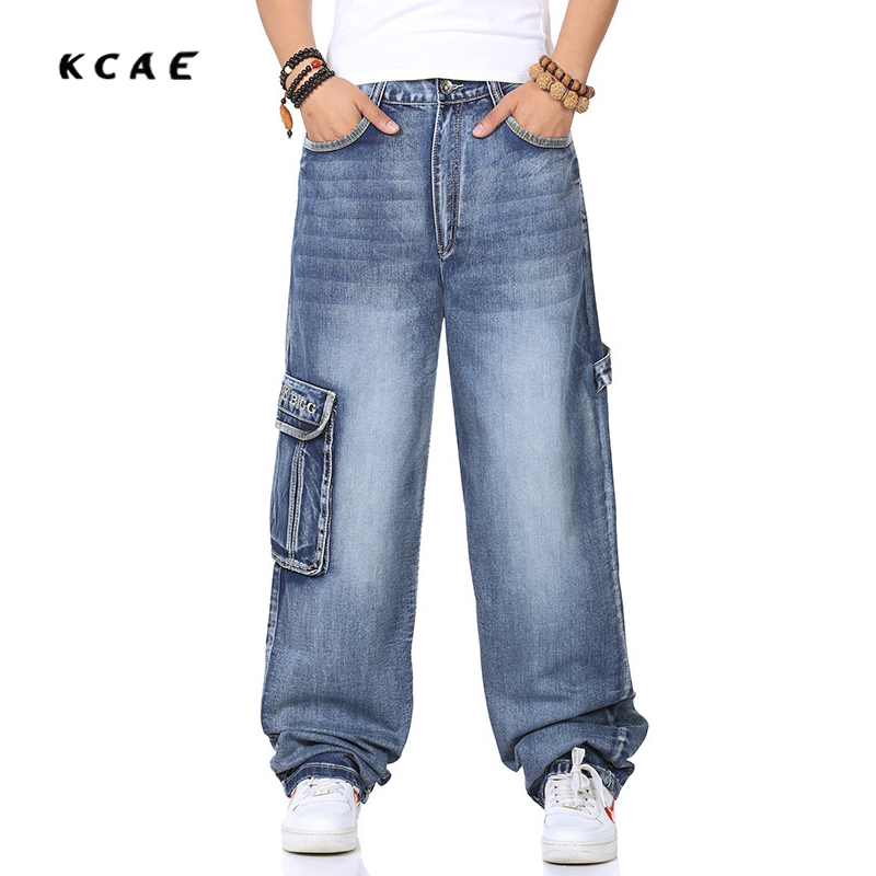 Hip Hop Baggy Jeans 2017 New Arrivals Loose Wide Leg Denim Pants Free Shipping Multi-pocket Pants Large size 30-46 hot new large size jeans fashion loose jeans hip hop casual jeans wide leg jeans