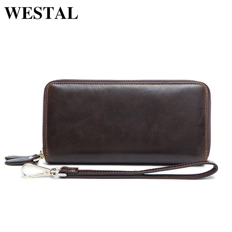 WESTAL Double Zippers Genuine Leather Men
