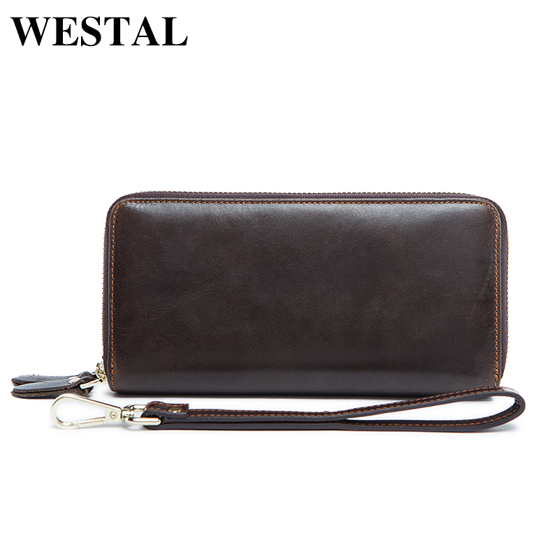 WESTAL Men's Wallet Genuine Leather Coin Purse Men Wallet Clutch Zipper Credit Card Holder Solid Fashion Male Long Clutch Wallet fashion men multifunction wallets men s long purse high capacity wallet male clutch genuine leather zipper coin bag card holder