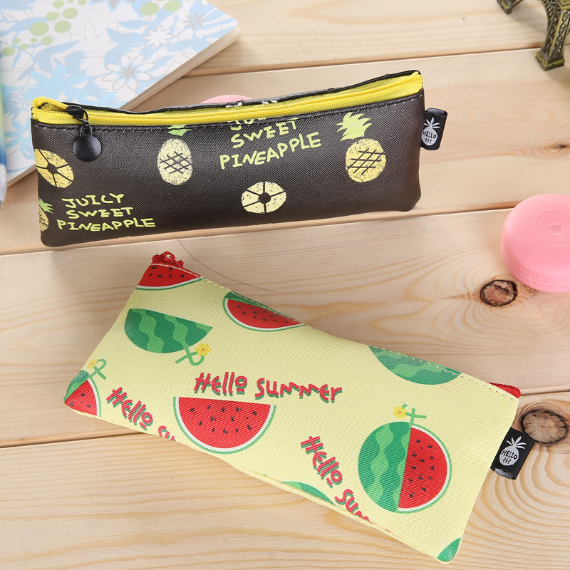 Kawai Banana Girls Pencil Cases Cute Fruit Leather Pencilcase Pen Bags Pencil Box For School Bts Stationery Office Supplies