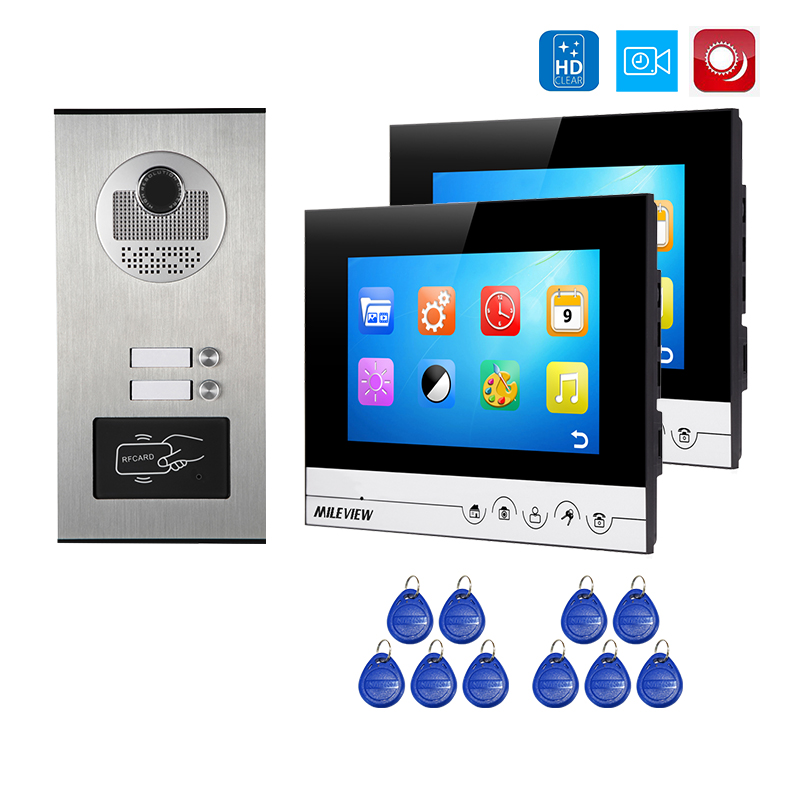 """FREE SHIPPING Apartment 7"""" Color LCD Video Door Phone Intercom Kit + 2 Recording Screen + Outdoor RFID Door Camera for 2 House"""
