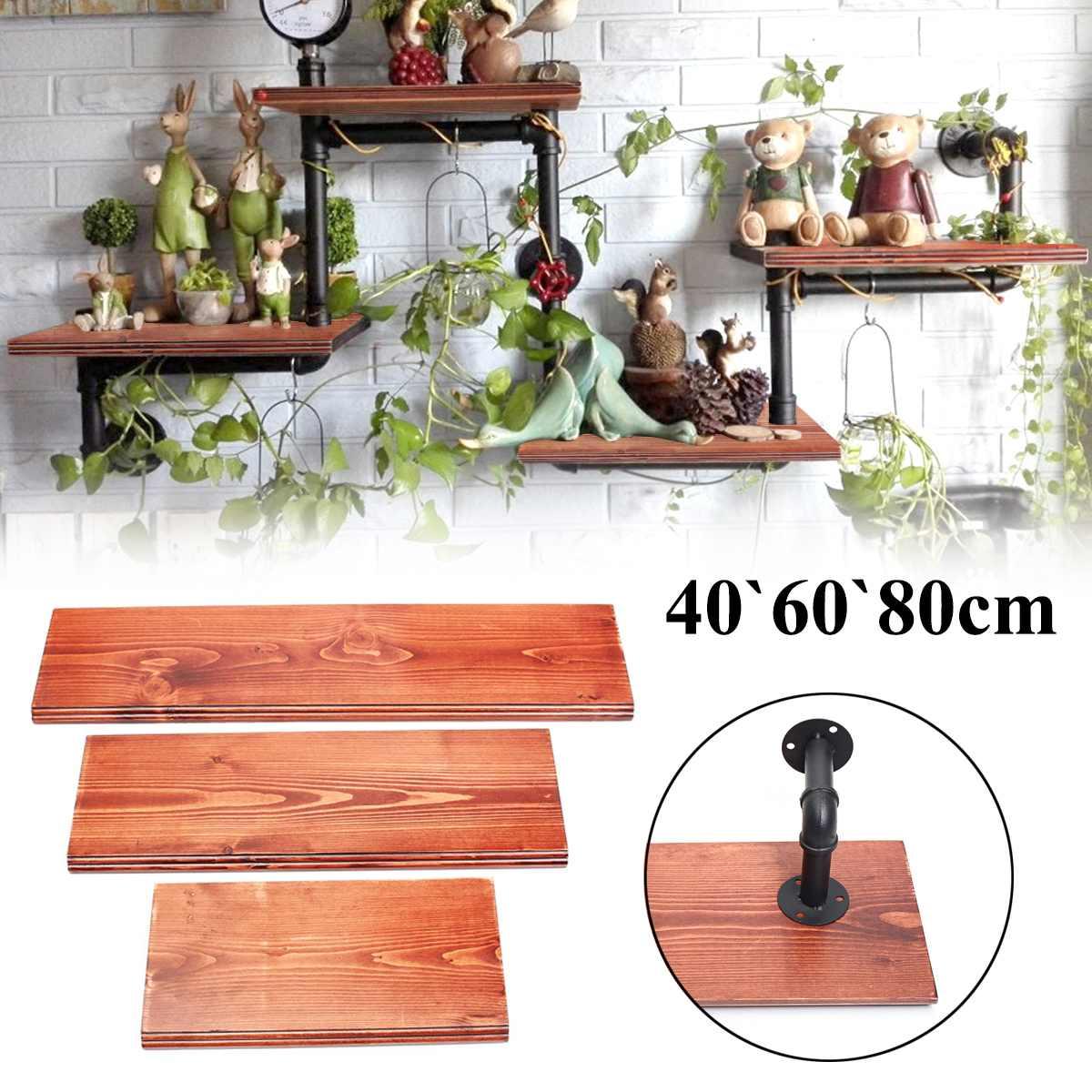 3 pièces Étagères Murales Vintage bois massif Conseil Panneau Plateau Kit 40 + 60 + 80 cm Étagère Avec 6 Fer tuyaux Support Mural pour décoration d'intérieur